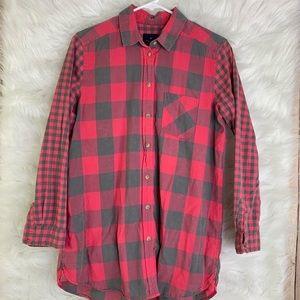 American Eagle Pink Gray Check Jegging Shirt M